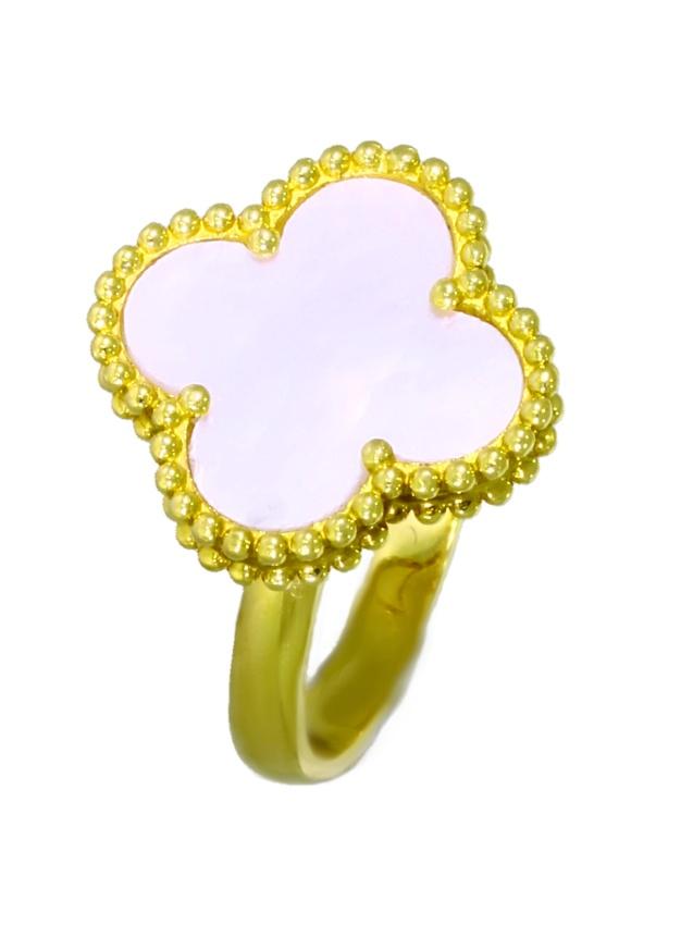 V3851-2-Ring 750-Gold-Perlmut-Blume